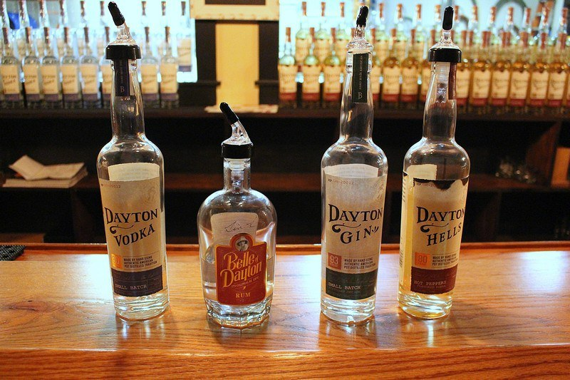 Belle of Dayton Distillery bottles on a bar