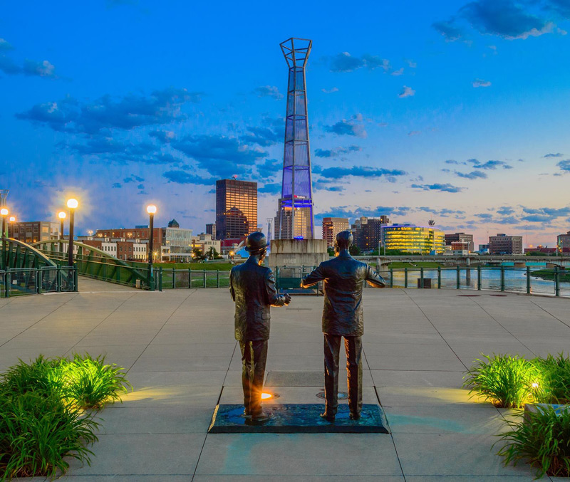 view of two statues from Deeds Point Metropark