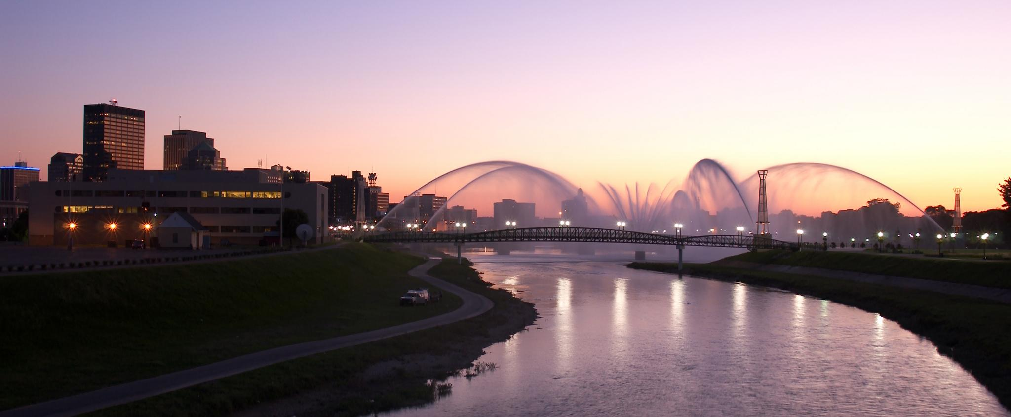 Dayton Riverscape with the fountains at sunset