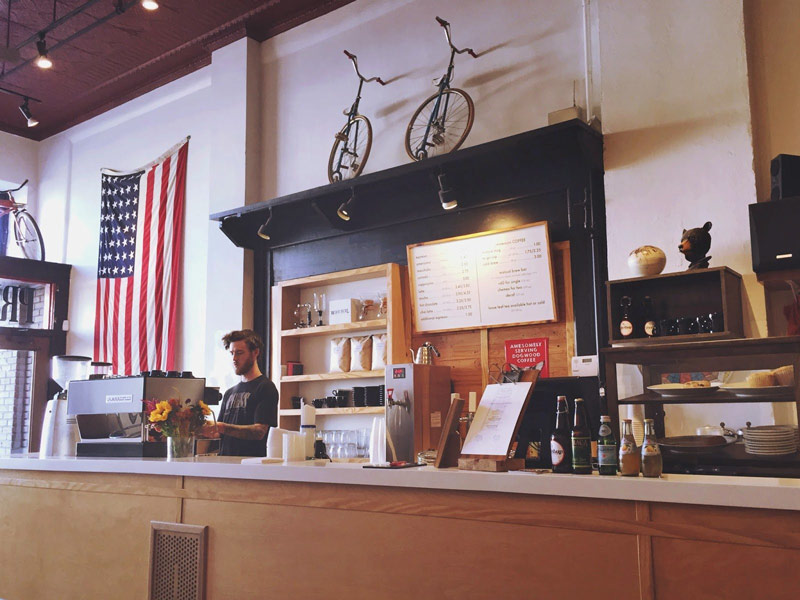 The inside of Press Coffee in Dayton, Ohio