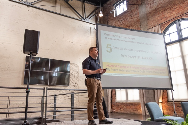 A white male presenting at Demo Day